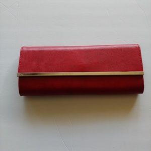 AVENUE RED CLUTCH WITH SILVER BAR DETAIL - NWOT